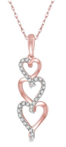 Tri Heart Shape Diamond Pendant in Rose Gold