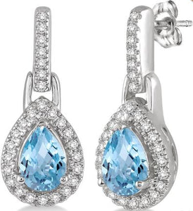 6x4 MM Pear Shape Aquamarine and 1/5 Ctw Round Cut Diamond Earrings in 10K White Gold