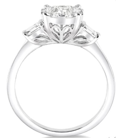 3/4 Ctw Round Cut Diamond Lovebright Engagement Ring in 14K White Gold
