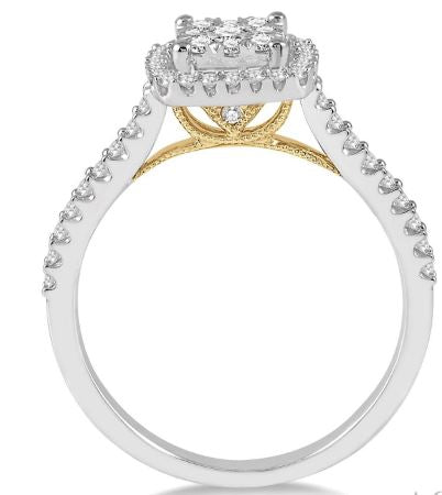 1/2 Ctw Round Diamond Lovebright Halo Engagement Ring in 14K White and Yellow Gold