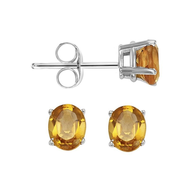 14kw prong citrine studs, fcps8.0-ss