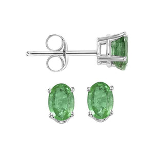 14kw prong emerald studs, fpps5.5-ss