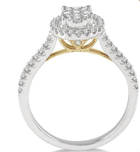 1/2 Ctw Round Diamond Lovebright Oval Shape Halo Engagement Ring in 14K White and Yellow Gold