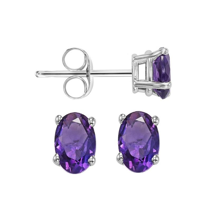 14kw prong amethyst studs, psd5.5aaa-4w