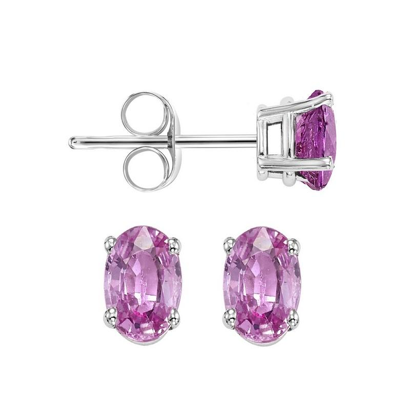 14kw prong pink sapphire studs, fops6.0-ss