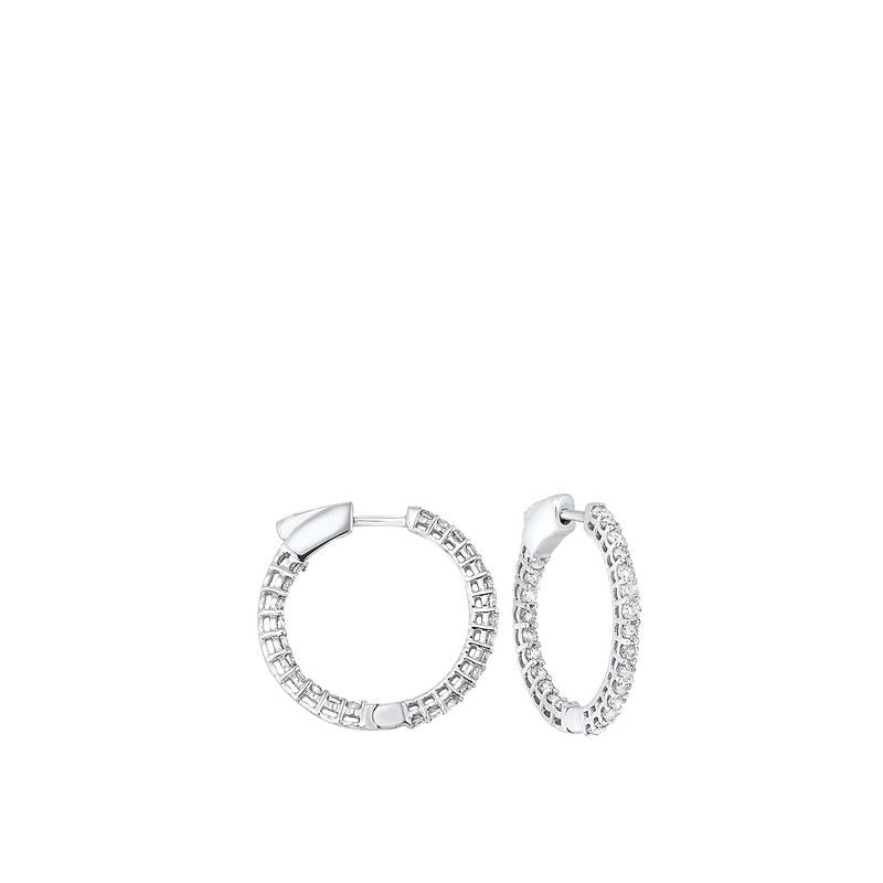 14kw prong diamond hoop earrings 1ct, fe2045-1wd