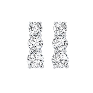 ss 3 stone prong diamond earrings 1/3ct, fr1221-1p