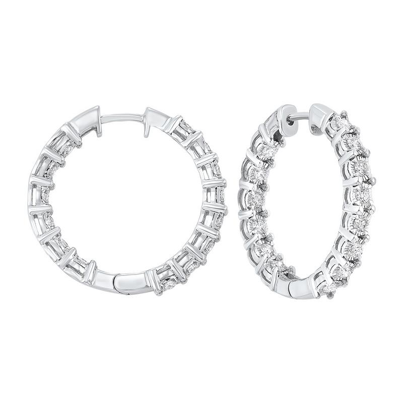 14kw tru ref prong diamond hoops 3ct, pp5.5aaa-4w
