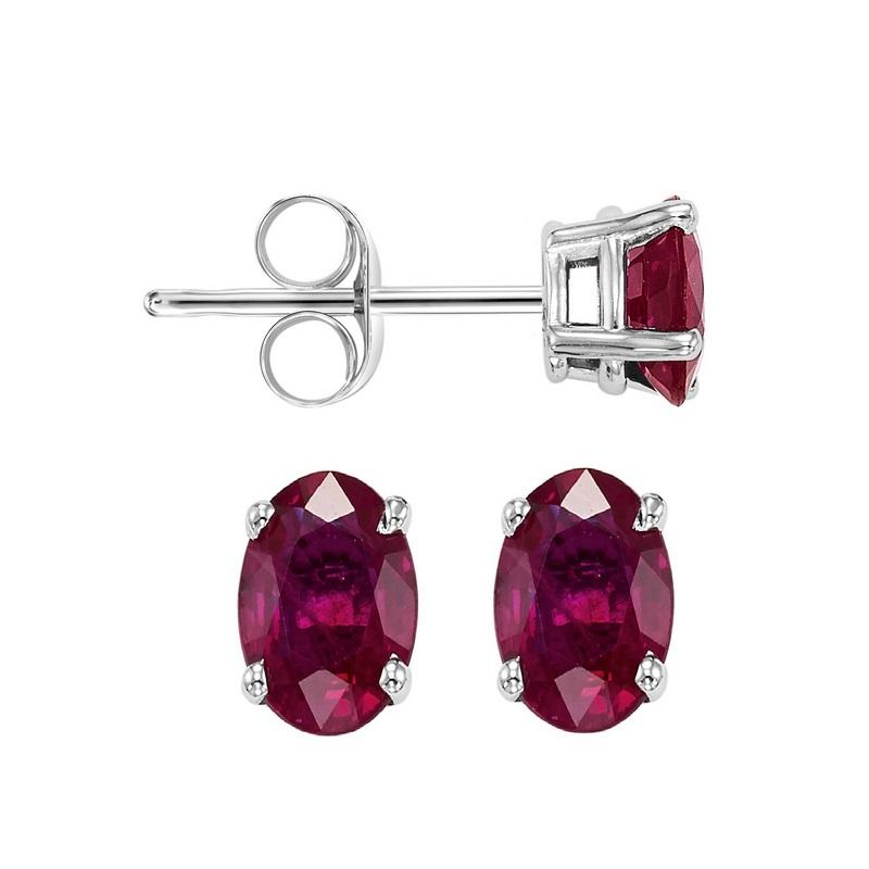 14kw prong ruby studs
