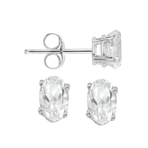 14kw prong white sapphire studs