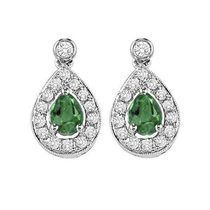 14kw color ens halo prong emerald earrings 1/6ct, rg71759-4wc