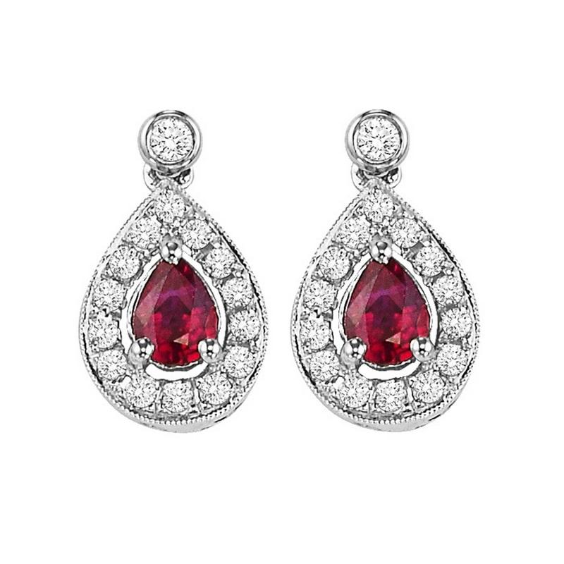 14kw color ens halo prong ruby earrings 1/6ct, rg71760-4wc