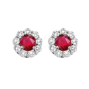 14kw color ens halo prong ruby earrings 3/4 ct, h131-3-4wc