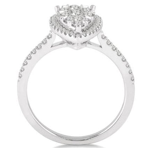 1/2 Ctw Pear Shape Diamond Lovebright Ring in 14K White Gold