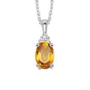 10kw color ens prong citrine necklace 1/30ct, er10147-4wb