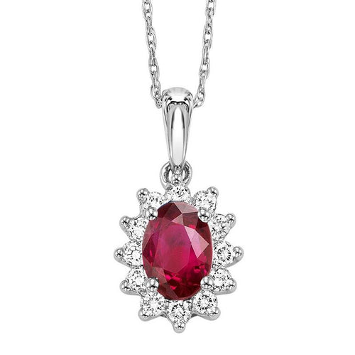 14kw color ens halo prong ruby pendant 1/5ct, rg68805-4wc