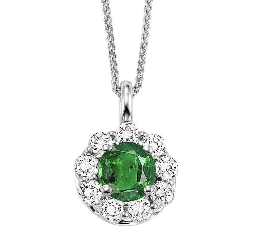 14kw color ens halo prong emerald pendant 3/8ct, h131-5-4wc