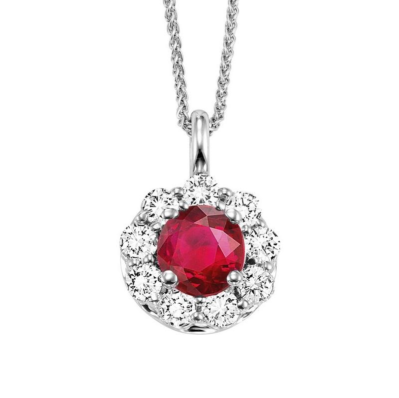 14kw color ens halo prong ruby pendant 1/2ct, h131-7-4wc