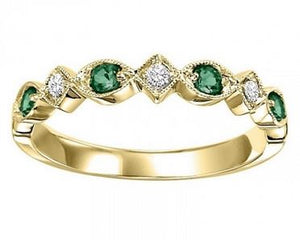 10ky mix prong emerald band 1/20ct