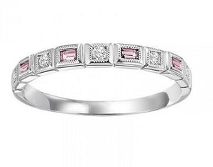 10kw mix bezel pink tourmaline band 1/10ct