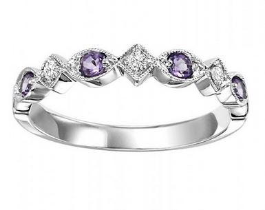 10kw mix prong amethyst band 1/20ct