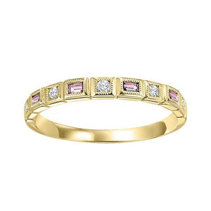 14ky mix bezel pink tourmaline band 1/12ct, pc8030p1-4w