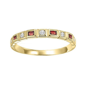 14ky mix bezel garnet band 1/12ct, pc8120p1-4w