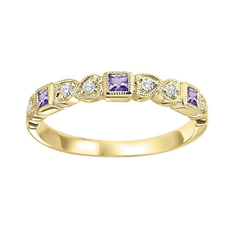 14ky mix bezel amethyst band 1/10ct, se7060g4-4w