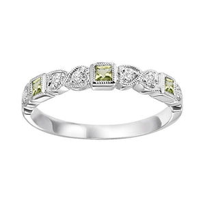 14kw mix bezel peridot band 1/10ct, se7100g4-4w