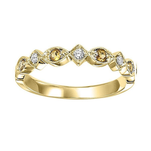14ky mix prong citrine band 1/20ct, kb25-4wd