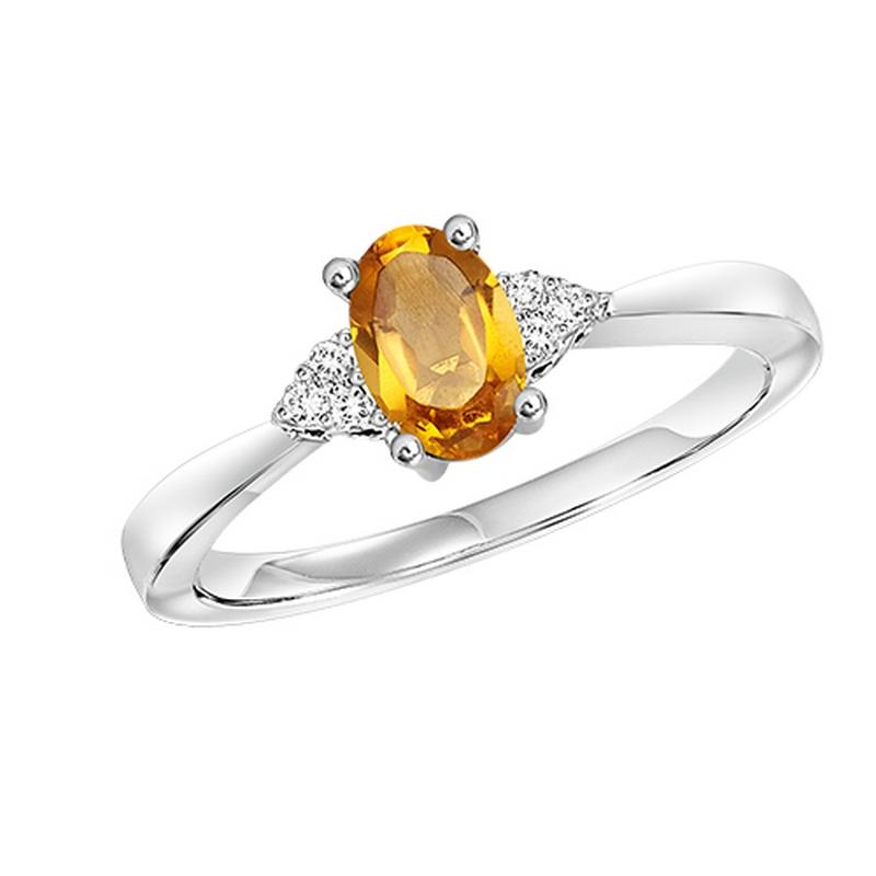 10kw color ens prong citrine ring 1/25ct, er10148-4wb