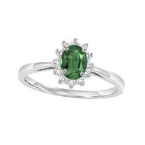 14kw color ens halo prong emerald ring 1/5ct, rg73312-1yd