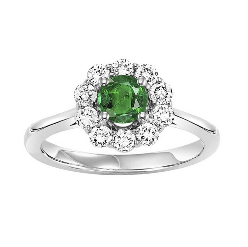 14kw color ens halo prong emerald ring 1/2ct, h130-3-4wc