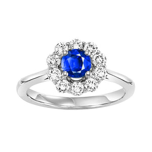 14kw color ens halo prong sapphire ring 1/2ct, h130-7-4wc