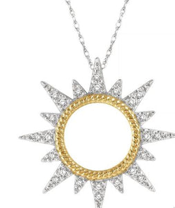 1/6 ctw Sun Motif Round Cut Diamond Pendant With Chain in 10K White and Yellow Gold