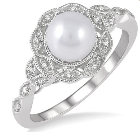 6.5x6.5 mm Cultured Pearl and 1/20 Ctw Single Cut Diamond Ring in Sterling Silver