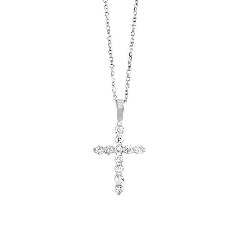 14kw cross prong diamond necklace 1/10ct, fr1221-1w