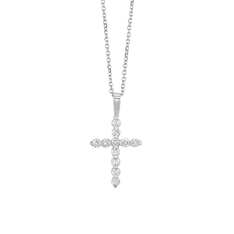 14kw cross bar set diamond necklace 1/5ct, fr1245-4w