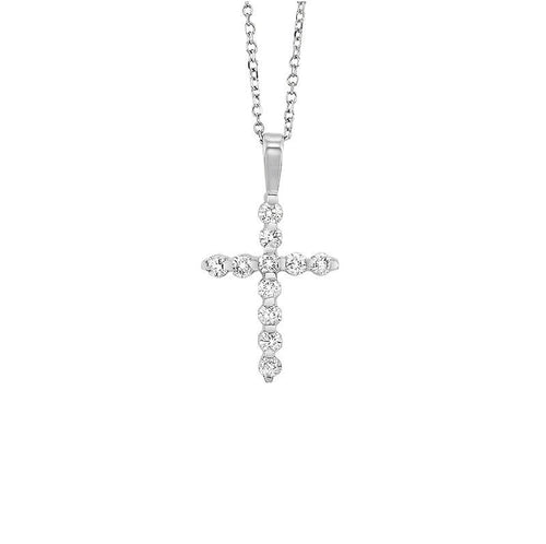 14kw cross bar set diamond necklace 1/3ct, fr1245-4y