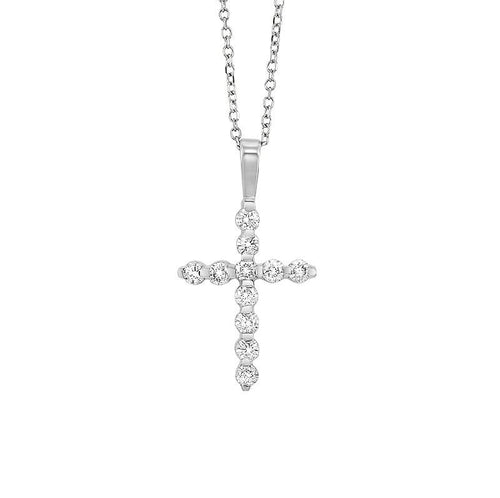 14kw cross bar set diamond necklace 3/4ct, fr1078-4p