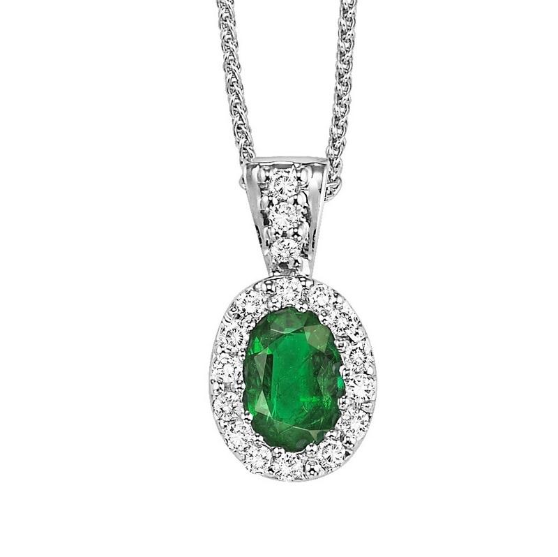 14kw color ens halo prong emerald pendant 1/10ct, rg68793-4pc