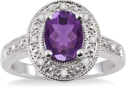 8x6 MM Oval Cut Amethyst and 1/20 Ctw Single Cut Diamond Ring in Sterling Silver