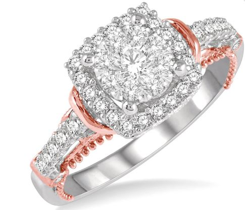 5/8 Ctw Cushion Shape Lovebright Diamond Engagement Ring in 14K White and Rose Gold