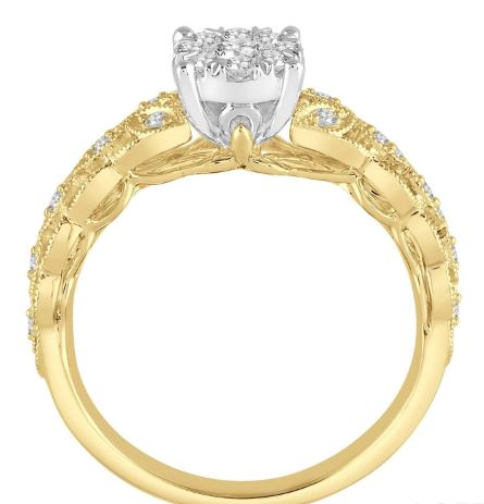 1/3 Ctw Round Cut Diamond Lovebright Engagement Ring in 14K Yellow and White Gold