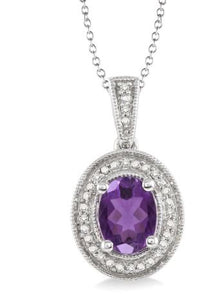 8x6 MM Oval Cut Amethyst and 1/20 Ctw Single Cut Diamond Pendant in Sterling Silver with Chain