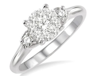 1/2 Ctw Lovebright Round Cut Diamond Engagement Ring in 14K White Gold
