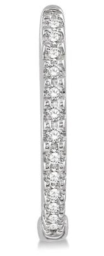 Load image into Gallery viewer, 1/5 Ctw Round Cut Diamond Hoop Earrings in 10K White Gold