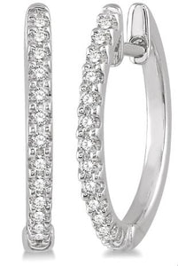 1/5 Ctw Round Cut Diamond Hoop Earrings in 10K White Gold