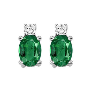 14kw color ens prong emerald earrings 1/14ct, h946-5-4wc