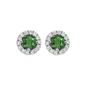 14kw color ens halo prong emerald earrings 1/7ct, fb1167-1yc